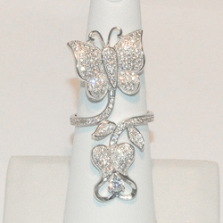 2-5131-e2 Micro Pave CZ Butterfly Ring