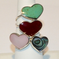 2-5153-e4 Sterling Natural Stone Heart Ring