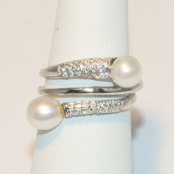 2-5182-e4 Sterling Triple Wrap CZ and Pearls Ring