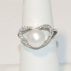 2-5184-e4 Sterling Fresh Water Pearl Ring