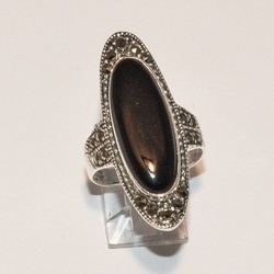 2-5234-e4 Sterling Marquesite Ring (Choose Stone)
