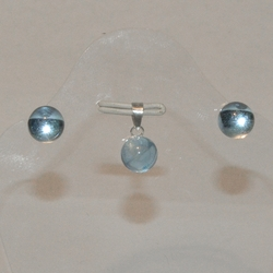 2-6342-e5 Sterling Crystal Ball Earring and Pendant Set