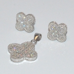 2-6357-D3 Sterling Micro Pave Earring and Pendant Set
