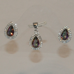 2-6367-e5 Sterling CZ ABS Iridescent Stone Earring and Pendant Set