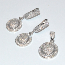 2-6370-D1 Sterling Micro Pave Earring and Pendant Set