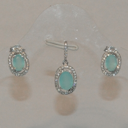2-6372-e5 Sterling CZ Blue stone Earring and Pendant set