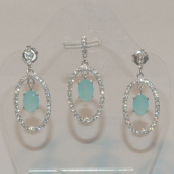 2-6376-e5 Sterling CZ Blue Stone Earring and Pendant set