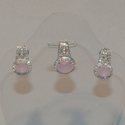 2-6376-e6 Sterling CZ Pink Stone Earring and Pendant set