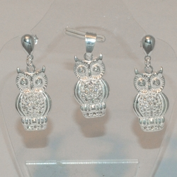 2-6386-e5 Sterling Owls Earring and Pendant Set