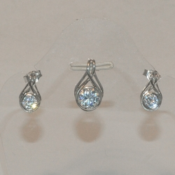 2-6405-e5 Sterling Simple Round CZ Earring and Pendant Set