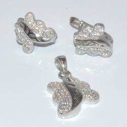 2-6409-D1 Sterling Micro Pave Earring and Pendant Set
