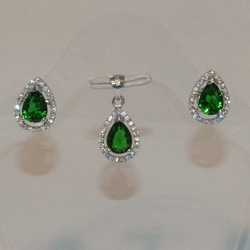 2-6417-e5 Sterling CZ Drop Earring and Pendant Set (3 colors available)