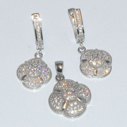 2-6422-D1 Sterling Micro Pave Earring and Pendant Set
