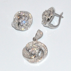 2-6437-D1 Sterling Micro Pave Earring and Pendant Set