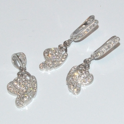 2-6445-D1 Sterling Micro Pave Earring and Pendant Set
