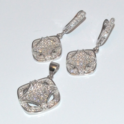 2-6445-D2 Sterling Micro Pave Earring and Pendant Set