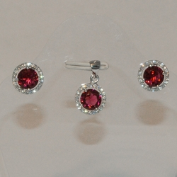 2-6447-e5 Sterling CZ Round Earring and Pendant Set (3 colors available)