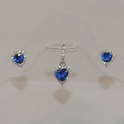 2-6449-e5 Sterling CZ Heart Earring and Pendant set (3 color available)