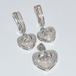 2-6452-D1 Sterling Micro Pave Earring and Pendant Set