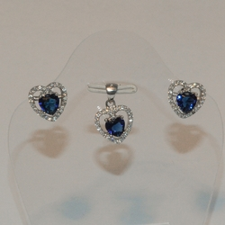 2-6463-e5 Sterling CZ Heart Earring and Pendant Set (3 colors available)