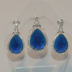 2-6467-e5 Sterling Faceted Marine Blue CZ Earring and Pendant Set