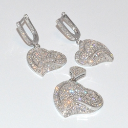 2-6499-D1 Sterling Micro Pave Earring and Pendant Set