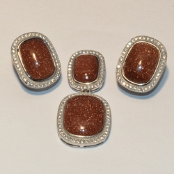 2-6509-e1 Gold Sand Stone (Venturina) Set (Other Shapes Available)