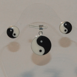 2-6525-e5 Sterling Ying Yang Earring and Pendant Set
