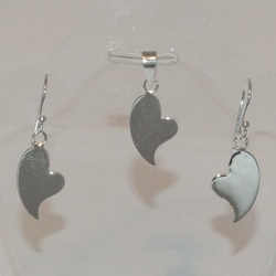 2-6536-e5 Sterling Hearts Earring and Pendant  Set