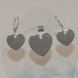 2-6701-e5 Sterling Hearts Earring and Pendant Set