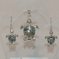 2-6723-e5 Sterling Abalone turtles Earring and Pendant Set