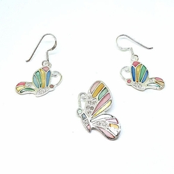 2-6736-f5 Sterling Silver Multicolor Butterfly Set