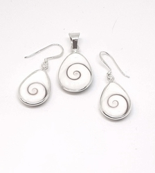 2-6739-f5 Sterling Silver Natural Shell Set