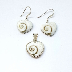 2-6740-f5 Sterling Silver Natural Shell Set