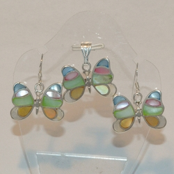 2-6746-e5 Sterling Colored Shells Butterly Earring and Pendant Set