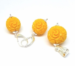 2-6782-f52 Sterling Silver Yellow Rose Ball Set