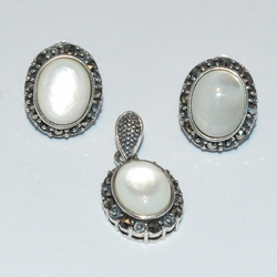 2-6811-e1 Swiss Marquesite and Mother of Pearl Set (2 Stones available)