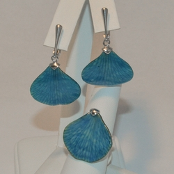 2-6970-e5 Sterling Shell Earring and Ring Set