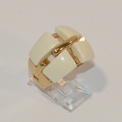 4-0048-e7 Ladies Gold Plated Stainless Ring with Bone color Square Stones. Sizes 6-8.