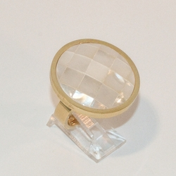 4-0048-e8 Ladies Gold Plated Circular Ring with Faceted Mother of Pearl Stone. Sizes 6-8.