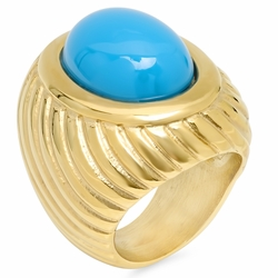 4-0052-e10 Stainless Gold Plated Ring with synthetic Turquoise Stone. 15x20mm stone.