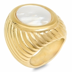 4-0059-e10 Stainless Gold Plated Ring with Mother of Pearl Stone. 15x20mm stone.