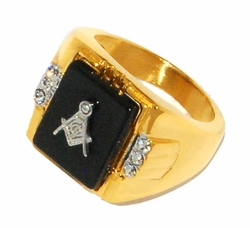 4-0083-D1 Mens Gold Plated Stainless Steel Masonic Ring