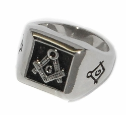 4-0083-D2 Mens Steel Masonic Ring