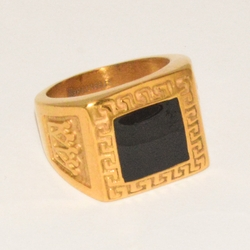 4-0084-e1 Men Gold Plated Square Graduation Style Ring