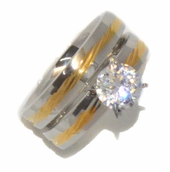 4-0085-D1 Ladies 2 Tone Wedding Ring Set