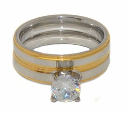 4-0093-D1 Ladies 2 Tone Wedding Ring Set