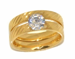 4-0094-D1 Ladies Gold Plated Stainless Steel Wedding Ring Set