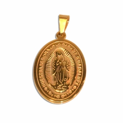 4-2085-e110 Stainless Gold Plated Guadalupe Pendant. 2""
