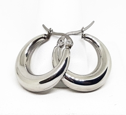4-2108-f10 316L Stainless Steel Puff Hoop Earrings. 6mm thick by 22mm diameter.